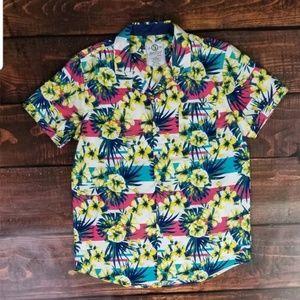 Men Foral Print Collar Shirt